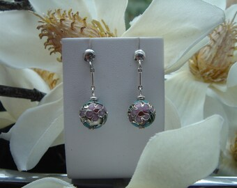 Silver earrings, sterling silver with beautiful flowers bead