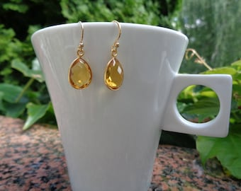 Gold Earrings with citrine, 585 gold filled