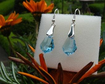 Crystal earrings, sterling silver with Swarovski element, aquamarine blue