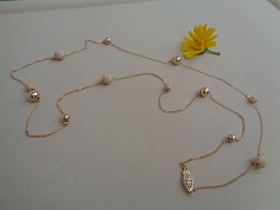 Long gold chain smooth and stardust with moving balls 585 gold filled