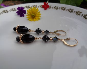 Long earrings with Onyx and Crystal, 585 gold filled