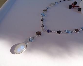 Y gemstone necklace with Blue Topaz, smoky quartz, Moonstone, Iolite, 925 Silver,.