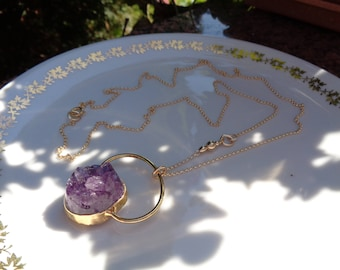 Long gold necklace with Amethyst Druze pendant in extravagant design