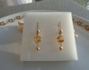 585 vintag earrings with genuine citrine