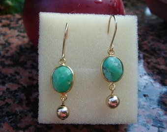 Goldfilled earrings with Chrysoprase!