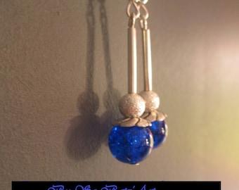 Bigiotteria Blu Scuro Appeso Orecchini Medio Perla Aura Vetro XnOwk80P