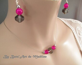 "Necklace + earrings ""Klassika"" Fuchsia and black Hematite"