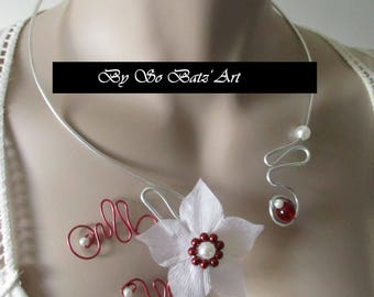 "Necklace + earrings ""Marielle"" aluminium Burgundy and white silk flower"