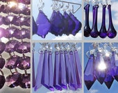 Purple Lilac Chandelier Drops Glass Crystals Droplets Beads Prisms Feng Shui Vintage Christmas Tree Wedding Decorations Light Crafts Parts