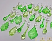 25 Emerald Sage Green Chandelier Drops Glass Crystals Droplets Chic Prisms Beads Vintage Christmas Tree Wedding Wishing Tree Decorations