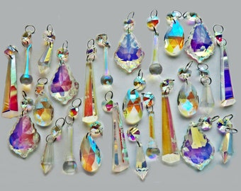25 Aurora Borealis AB Chandelier Drops Glass Crystals Droplets Beads Christmas Tree Wedding Garden Patio Decoration Crafts Light Lamp Parts