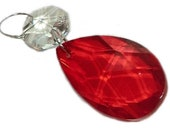 Chandelier Drops Glass Crystals Red Droplets Chic Oval Beads Prisms Vintage Christmas Tree Wedding Decorations Crafts Light Hobby Beading