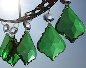 Emerald Green Chandelier Drops Glass Light Deco Crystals Droplets 2 quot Leaf Beads Prisms Christmas Tree Wedding Decoration Festive Xmas Charms