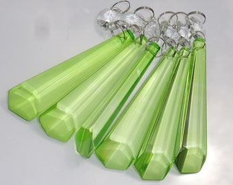 Vintage Clear Crystal Chandelier Parts Bobeches Prisms 14 Pieces