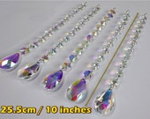 5 XXL Garland AB Aurora Borealis Chandelier Drops Glass Crystals Droplets Oval Beads Christmas Tree Wedding Feng Shui Sun Catchers Mobile