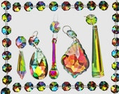 Choice of 5 Shapes Rainbow Vitrail Chandelier Glass Light Crystals Droplets Beads Christmas Tree Light Lamp Spare Iridescent Parts Prisms