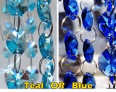 14mm Turquoise Teal OR Blue Octagon Chandelier Drops Glass Light Parts Crystals Droplets Beads Christmas Tree Wedding Decorations Garland