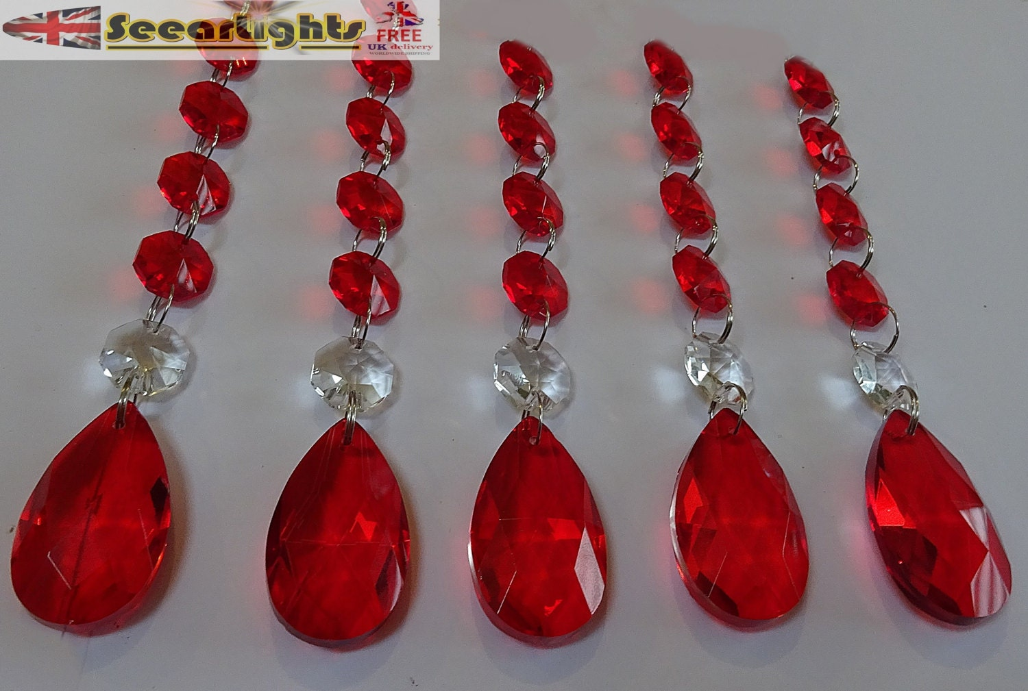 XL Chains Retro Vintage Red Chandelier Drops Glass Crystals - Red chandelier crystals
