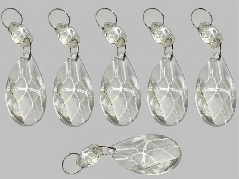 Chandelier Drops Clear Glass Crystals Droplets Oval Almond Beads Prisms Lamp Light Parts Pendant Christmas Tree Wedding Decorations Chic