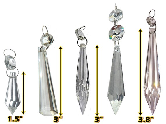 Choice Of 5 Icicles Torpedo Prisms, Chandelier Glass Drops Parts