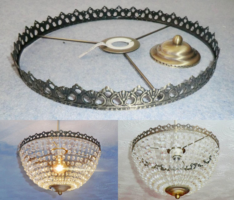 Basket Chandelier Metal Frame Skeleton Make Your Own Light Shade Kit Pendant Lamp Wedding Cake Stand Decoration Vintage Look