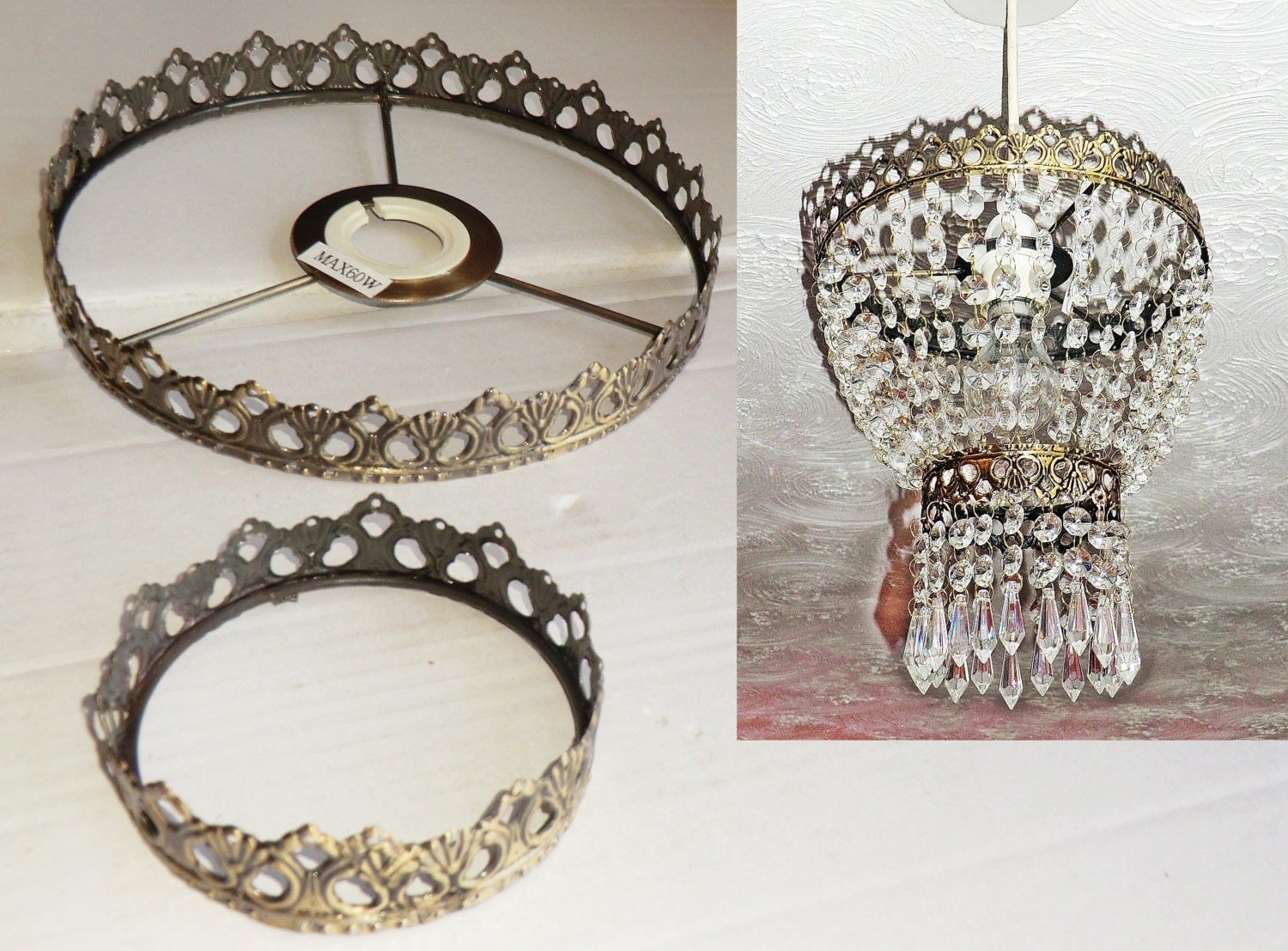 Two tier chandelier metal frame no drops make your own chandelier two tier chandelier metal frame no drops make your own chandelier light shade kit pendant lamp or wedding cake stand decoration antique look aloadofball Image collections