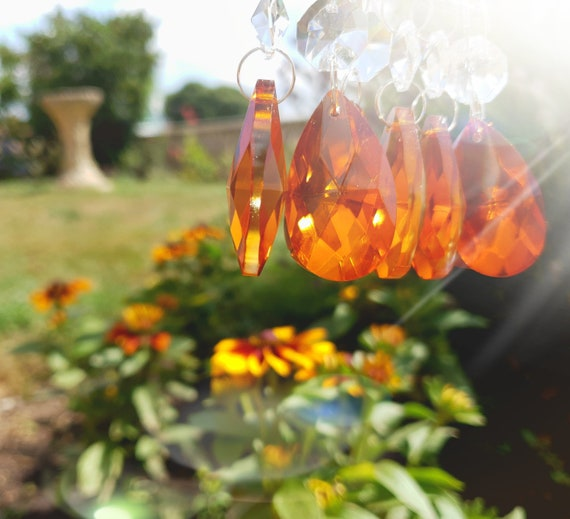 """12 CHANDELIER GLASS DROPS CRYSTALS RETRO ORANGE 1.5/"""" OVAL BEADS WEDDING DROPLETS"""