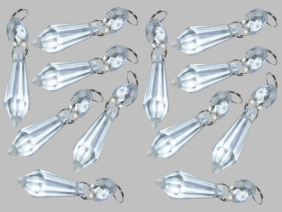 5 chandelier drops parts glass torpedo crystals droplets etsy image 0 aloadofball Image collections