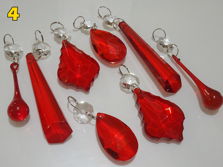 ORANGE RED DROPLETS CHANDELIER GLASS CRYSTALS PARTS DROPS BEADS VINTAGE WEDDING