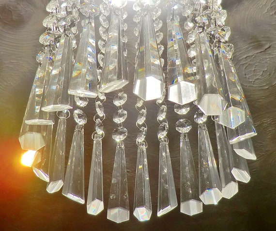6 CHANDELIER SAGE GREEN GLASS DROPS CRYSTALS ICICLES CHRISTMAS TREE DECORATIONS