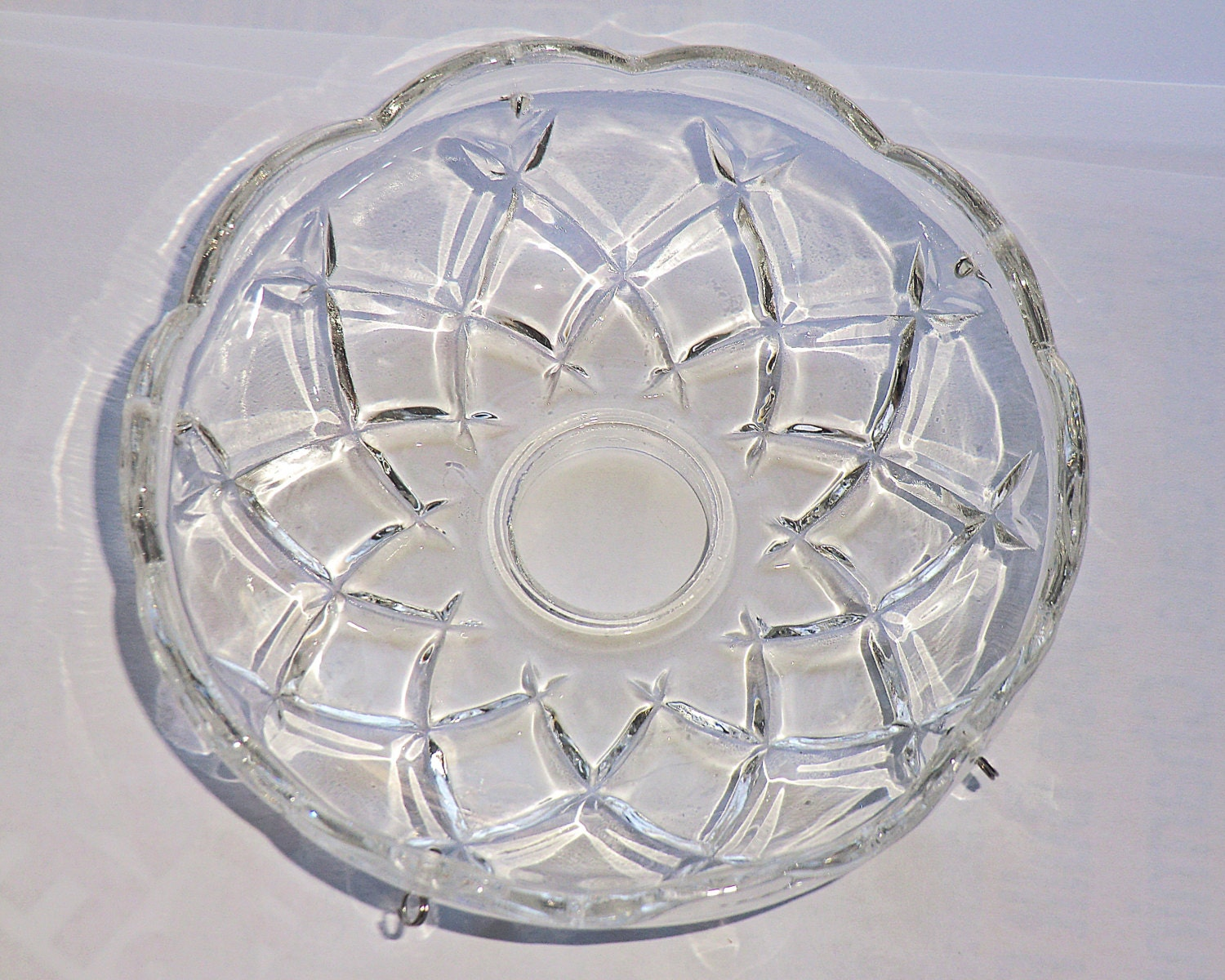 Chandelier Bobeche Bowl Drip Tray Thick Cut Glass Light