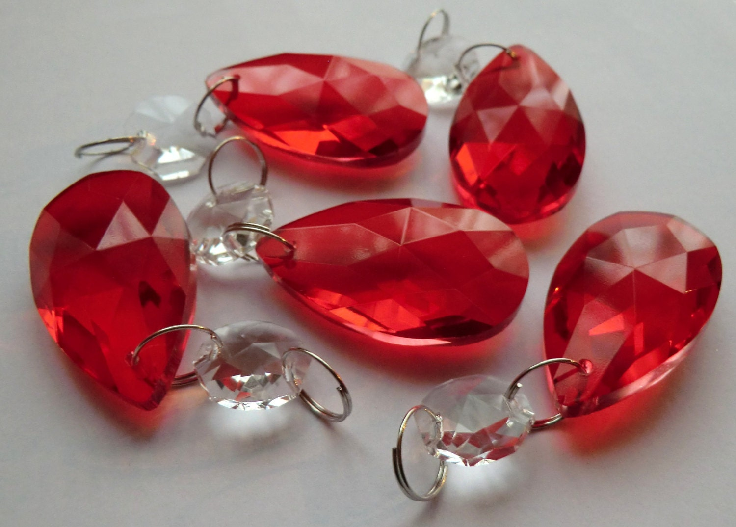 Red Chandelier Drops Glass Crystals Shabby Droplets Chic Almond - Red chandelier crystals