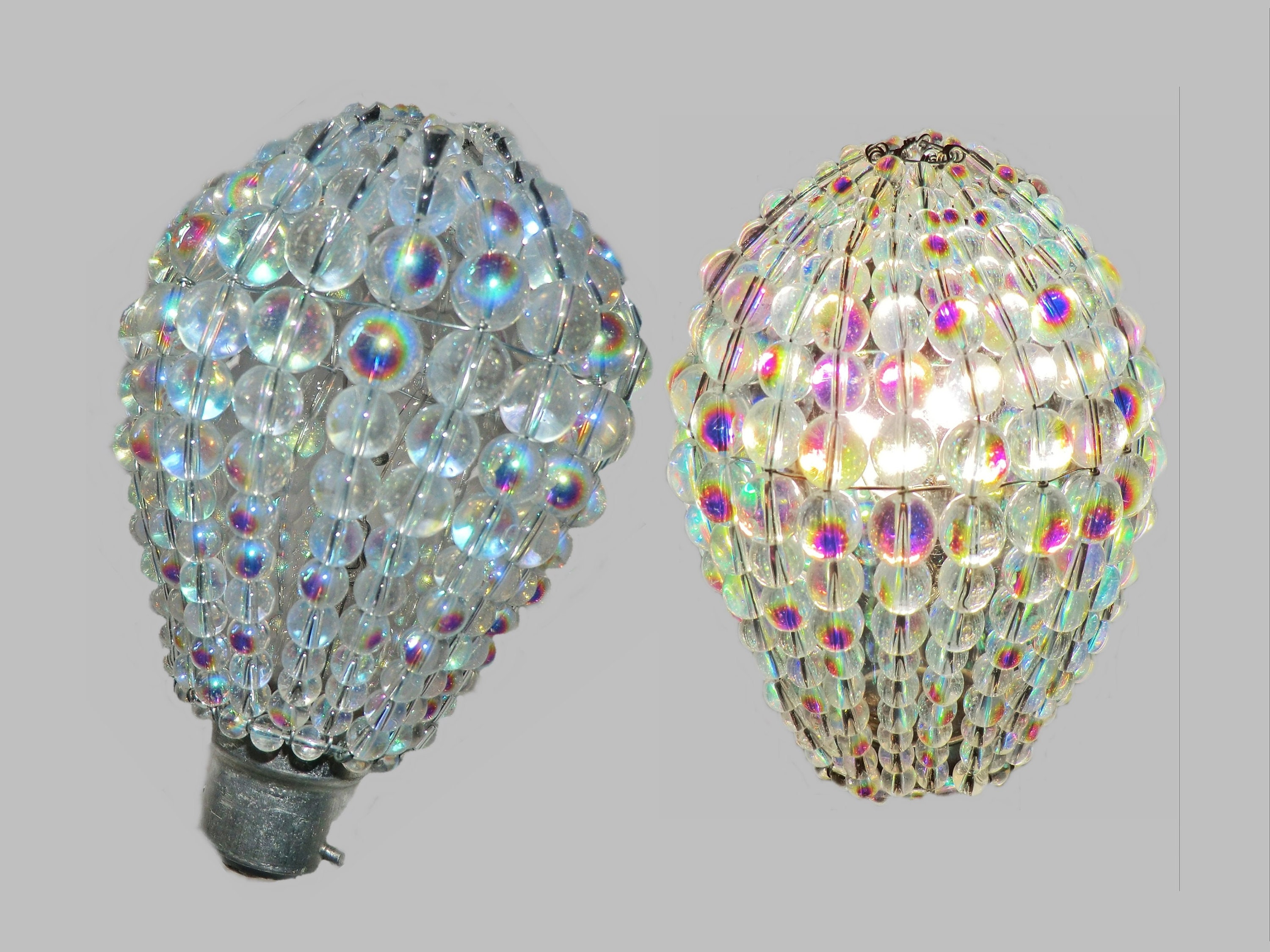 Crystal Chandelier Inspired Aurora Borealis Ab Glass Lightbulb Gls Bulb Cover Sleeve Pendant Lamp Better Than Shade Light Drops Beads