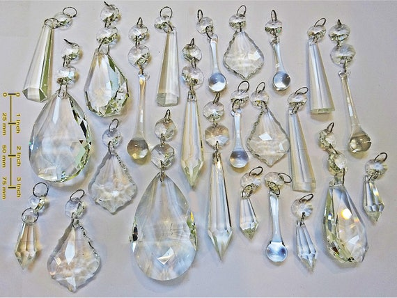 24 chandelier drops parts glass xl prisms crystals shabby droplets 24 chandelier drops parts glass xl prisms crystals shabby droplets beads christmas tree wedding decorations bundle light lamp chic parts from seearlights mozeypictures Choice Image
