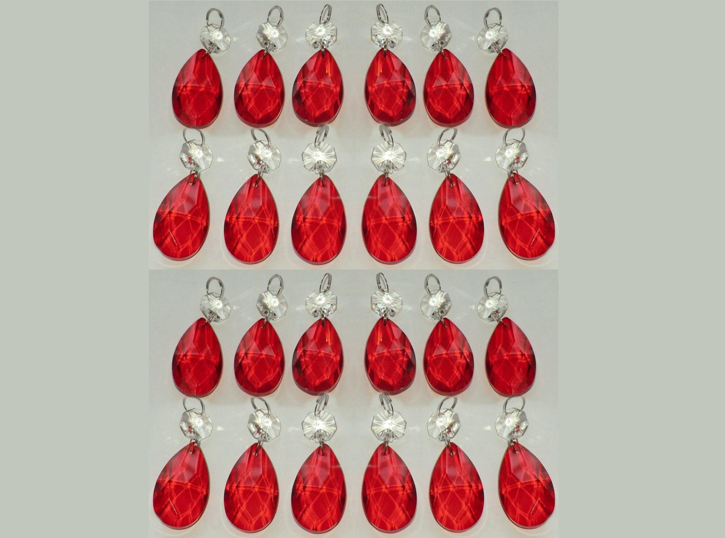 24 Red Chandelier Drops Glass Crystals Droplets Chic Almond Oval