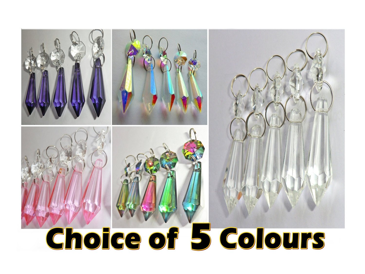 Choice of 5 Colours - 5 Chandelier Drops Glass Crystals Droplets ...