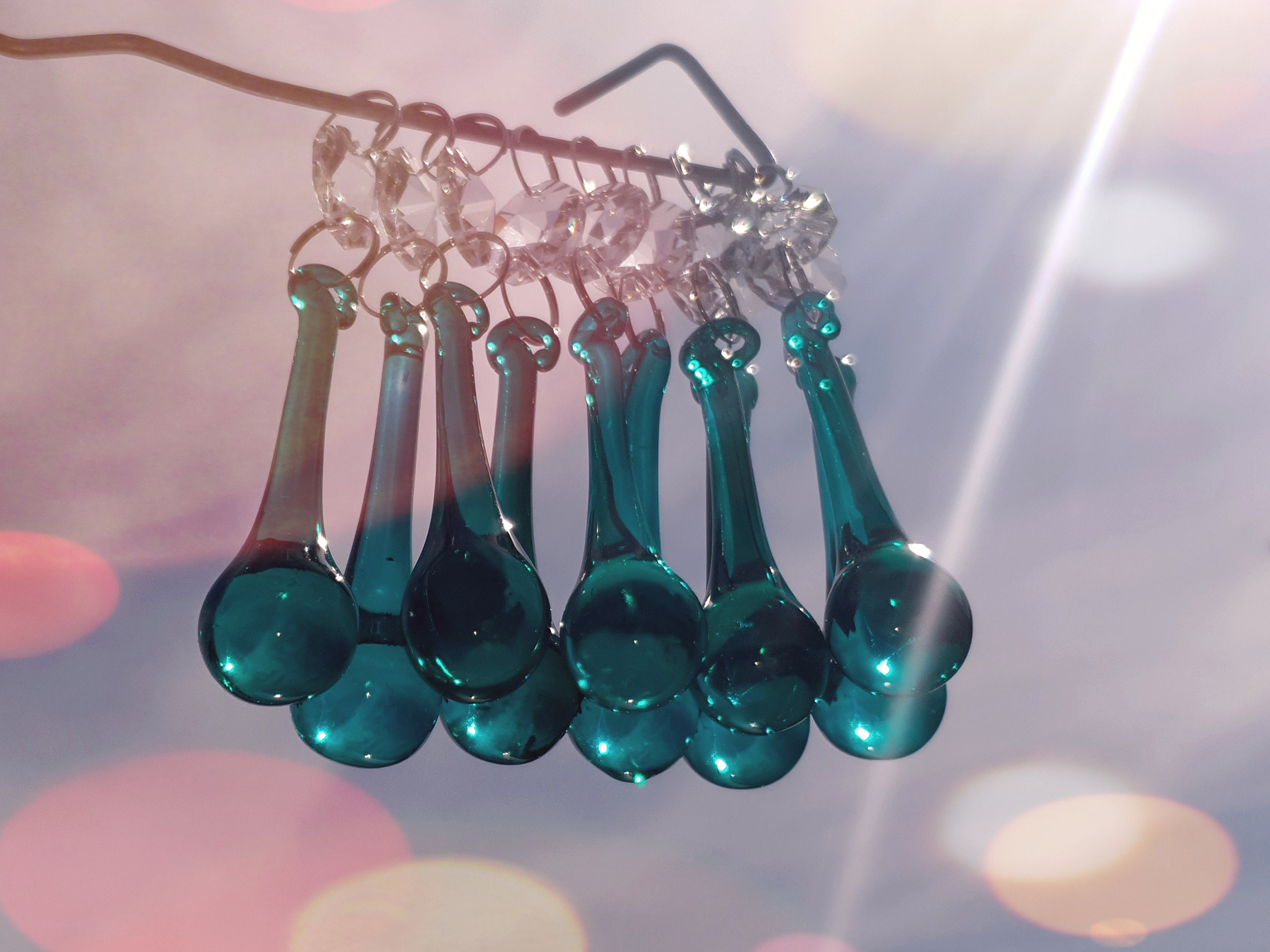 5 CHANDELIER GLASS CRYSTALS DROPS ORB BEADS DROPLETS LIGHT LAMP PARTS PRISM DECO