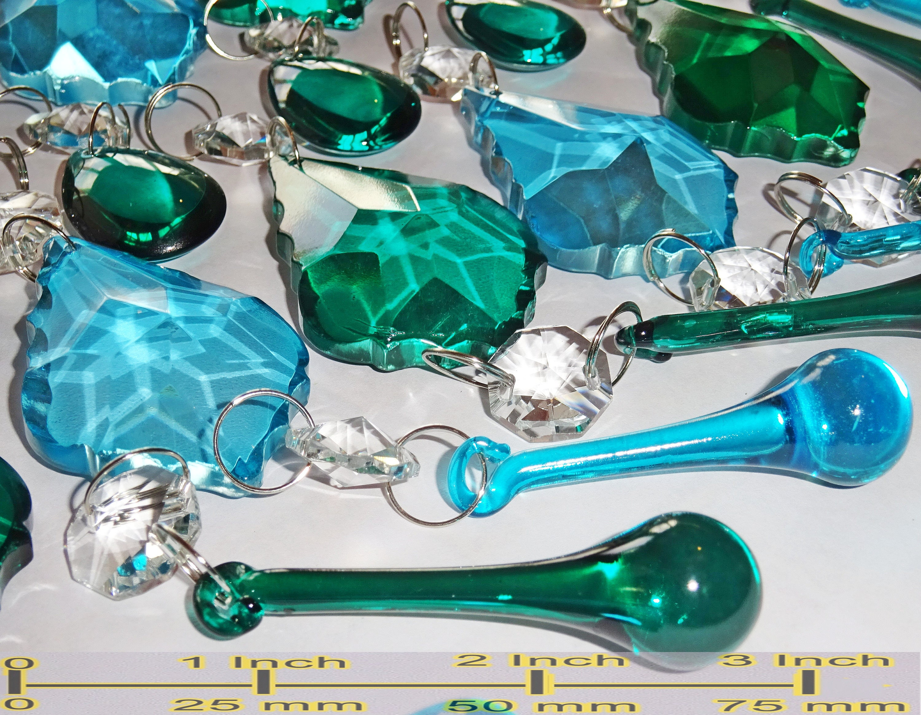 5 CHANDELIER GLASS CRYSTALS TURQUOISE ORBS DROPS VINTAGE WEDDING BEADS DROPLETS