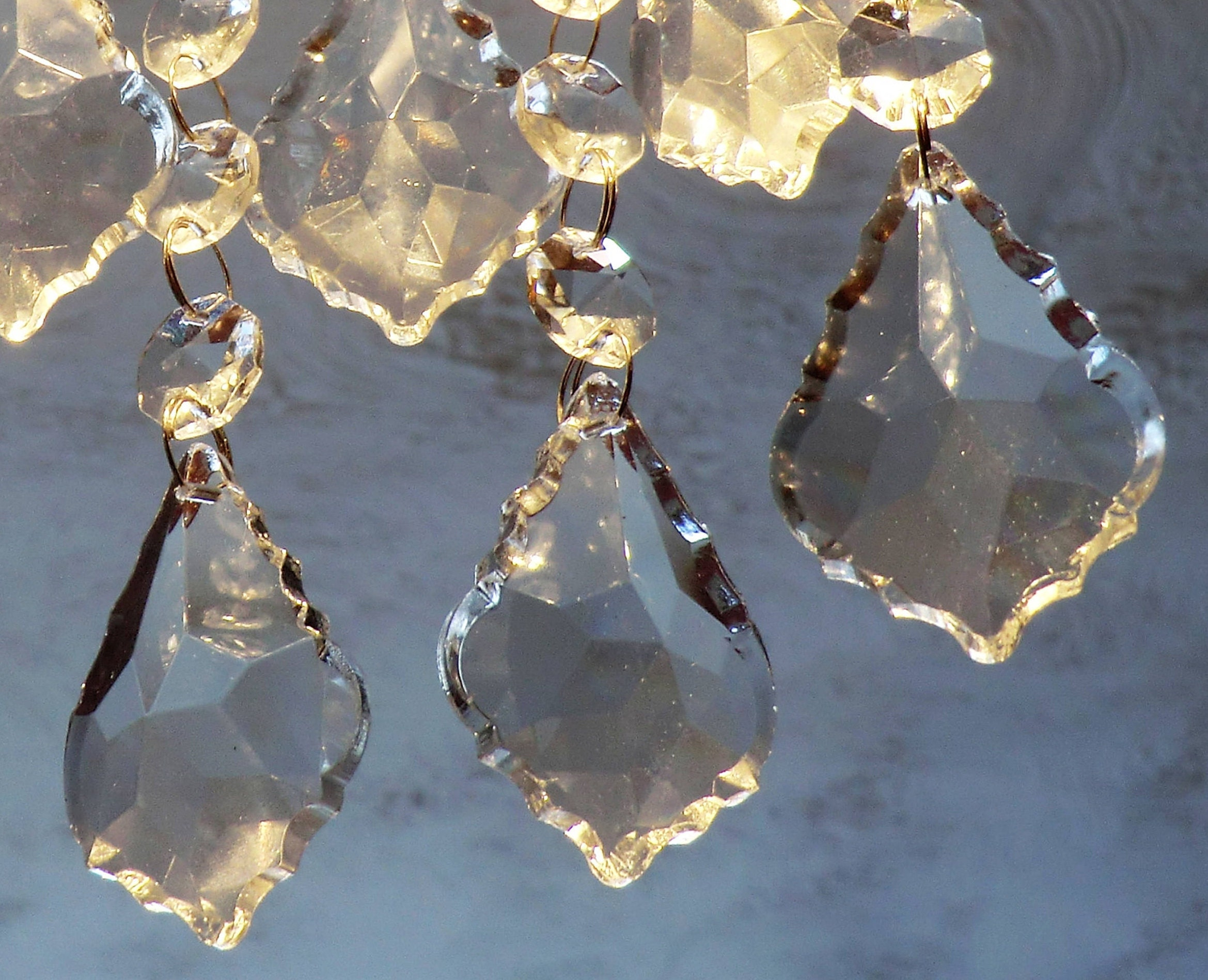 Chandelier Drops Clear Glass Crystals Droplets Light Parts Leaf - Chandelier crystals crafts