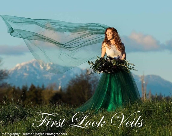 Green Wedding Veil, Emerald Bridal Veil, Cathedral Vale, Plain Vail, Bridal Veil, Scottish Wedding, Colored Veil, Brown Veil, White Veil