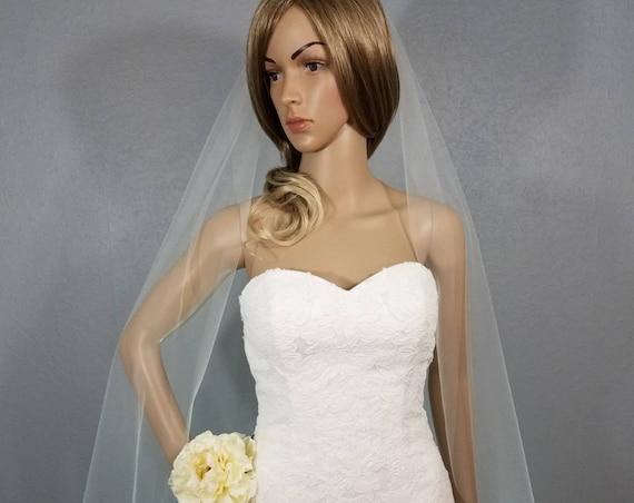 Wedding Veil, Ivory Bridal Vail, Waltz Vale, Colored Veil, Long Veil, Short Veil, White Veil, Pink Veil, Blue Veil, Black Veil, Champagne