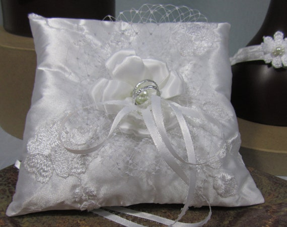 Ring Bearer Pillow, White Satin Pillow, Embroidered Lace Pillow, Ribbon Flower Center, Wedding Accessory, Decorative Pillow, Bridal Pillow