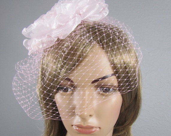 Pink Birdcage Wedding Veil, Bridal Veil, Bird Cage Veil, Pink Russian Netting Veil, Valentine Bridal Accessory, Pink Veil, Pink Hair Comb