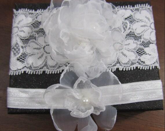 White Bridal Garter, Wedding Garter Set, Organza Floral Garter, Flower Garter, Beaded Garter, White Garter, Throw Garter, Keepsake Garter