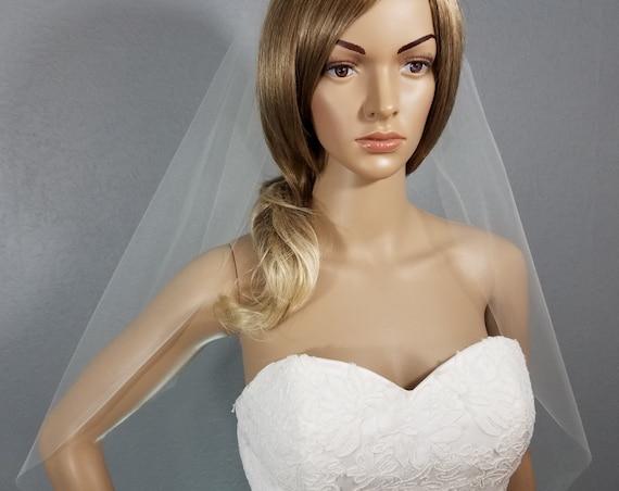 Ivory Hip Veil, Bridal Vail, Wedding Vale, Short Veil, Long Veil, Colored Veil, White Veil, Pink Veil, Black Veil, Blue Veil, Green Veil