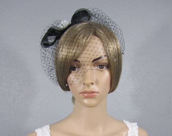 Bridal Birdcage, Wedding Cage Veil, Black Bird Cage, Bling Birdcage, Black Blusher, Bow Birdcage, Bridal Headpiece, Bridal Attire