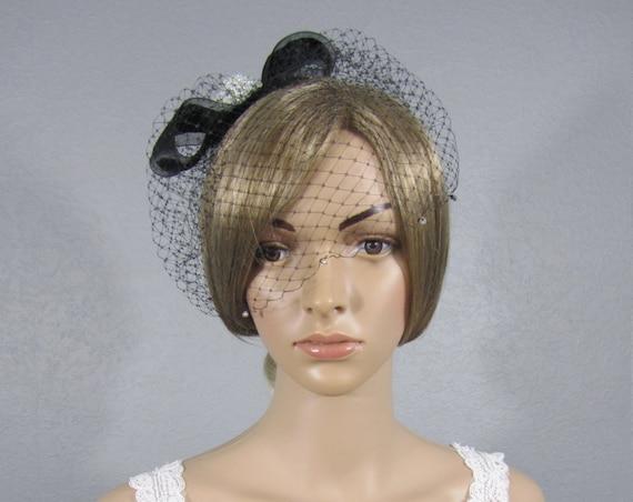 Bridal Birdcage, Wedding Cage Veil, Black Bird Cage Vail, Bling Birdcage, Black Blusher, Bow Birdcage, Bridal Headpiece, Bridal Attire