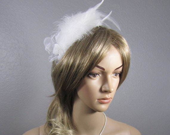 White Bridal Headpiece, Feather Bridal Hairpiece, Feather Headband, Flower Headband, Wedding Headband, Women's Head Band, Wedding veil, veil