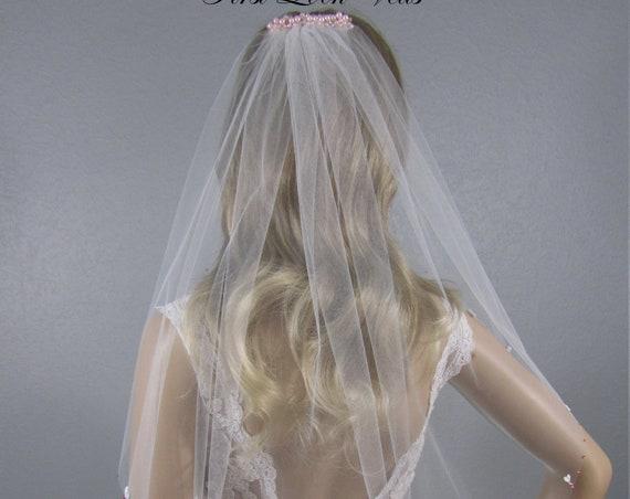 White Bridal Veil, Pink Accent Vail, Lace Wedding Vale, Elbow Veil, Pink Crystal Veil, Pink Veil, Short Veil, Valentine Veil, Soft Veil