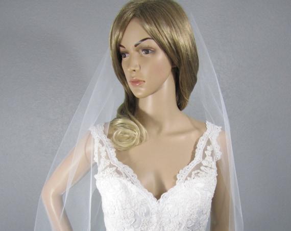 Wedding Veil, White Bridal Vail, Fingertip Vale, Short Veil, Ivory Veil, One Layer Veil, Black Veil, Champagne Veil, Long Veil, Colored Veil